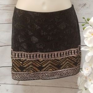 Express black sequin tribal mini skirt